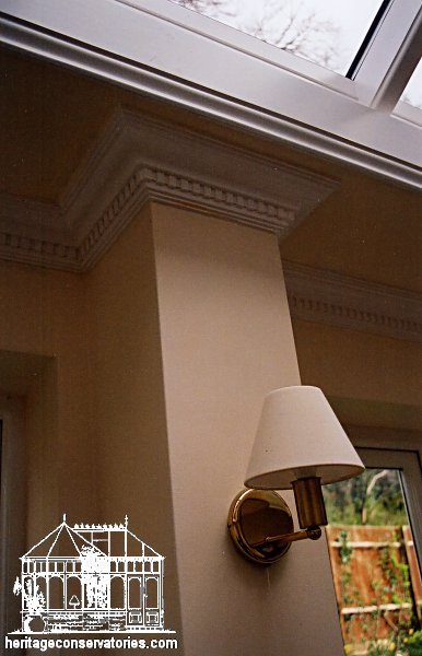 Orangery project 5 heritage conservatories this feature pillar is ideal for wall lights and also shows off the dentil coving well aloadofball Gallery